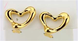 Tiffany & Co. Elsa Peretti 18K Heart Ear Clips