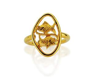 Boucheron 18K Yellow Gold Dueling Fish Ring