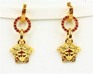 Versace 2 Medusa Earrings WSwarovski Crystals