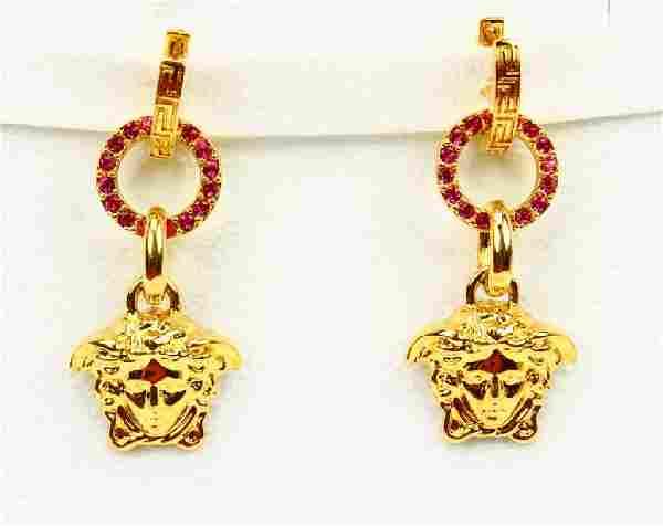"Versace 2"" Medusa Earrings W/Swarovski Crystals"