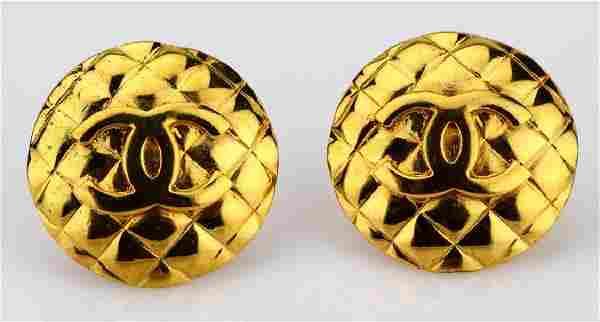 "Chanel Vintage Tufted ""CC Logo"" Ear Clips"