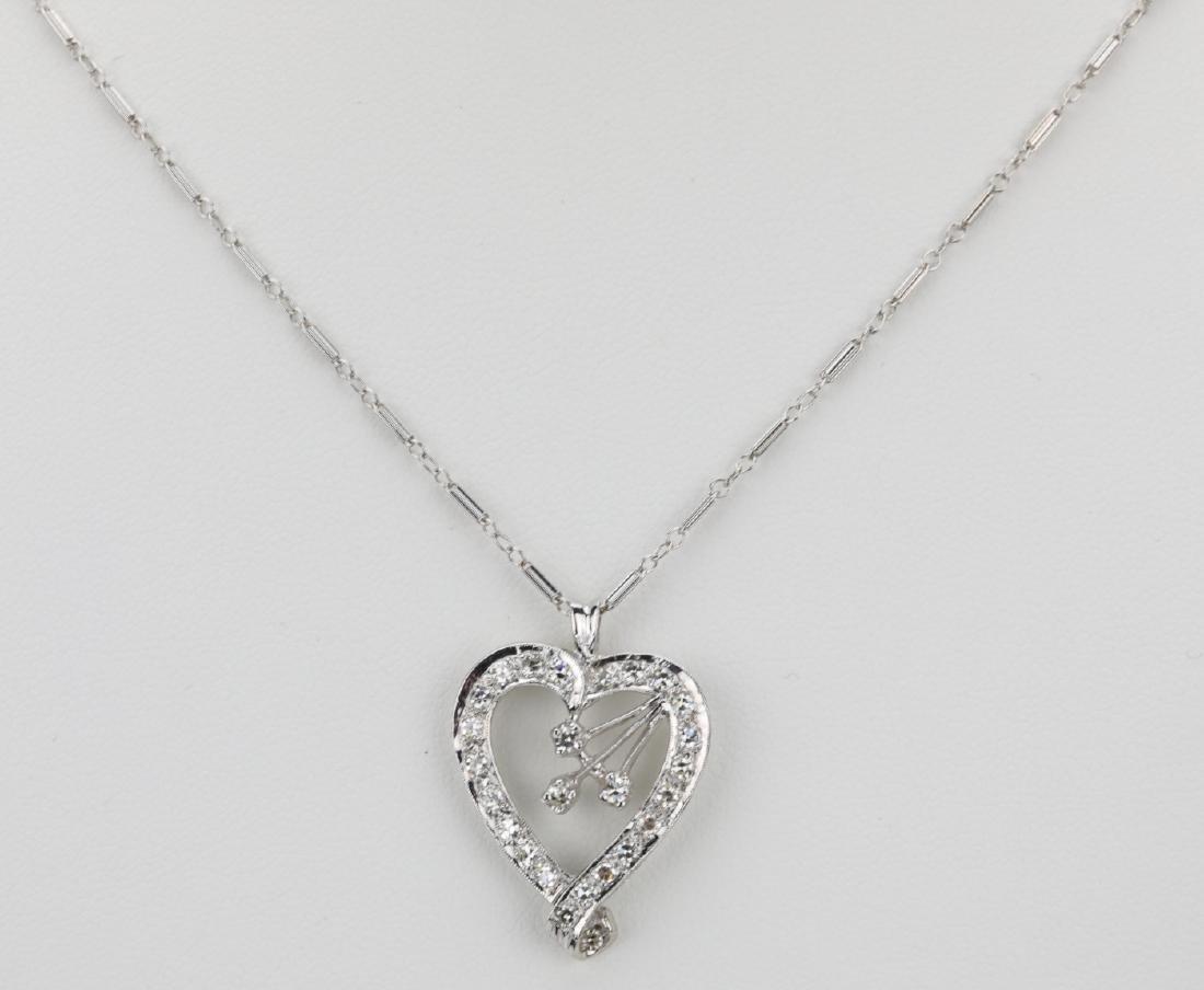 "1.00ctw Diamond & 14K 18"" Heart Necklace"