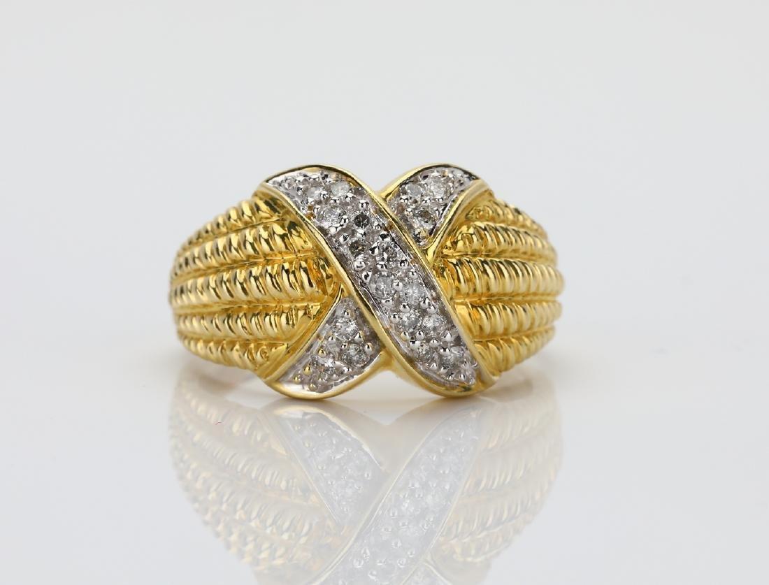 "14K & 0.40ctw SI1-SI2/G-H Diamond ""X"" Motif Ring"