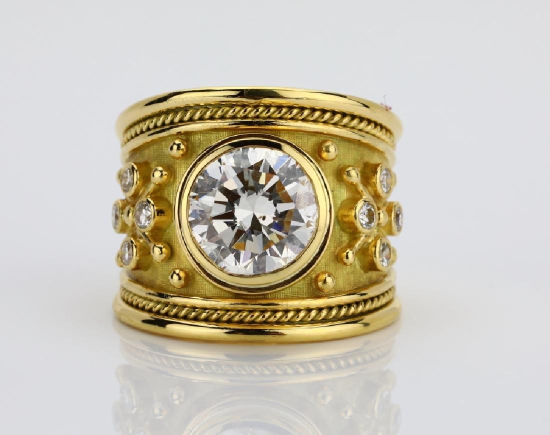 Elizabeth Gage 4.50ctw Diamond & 18K Templar Ring
