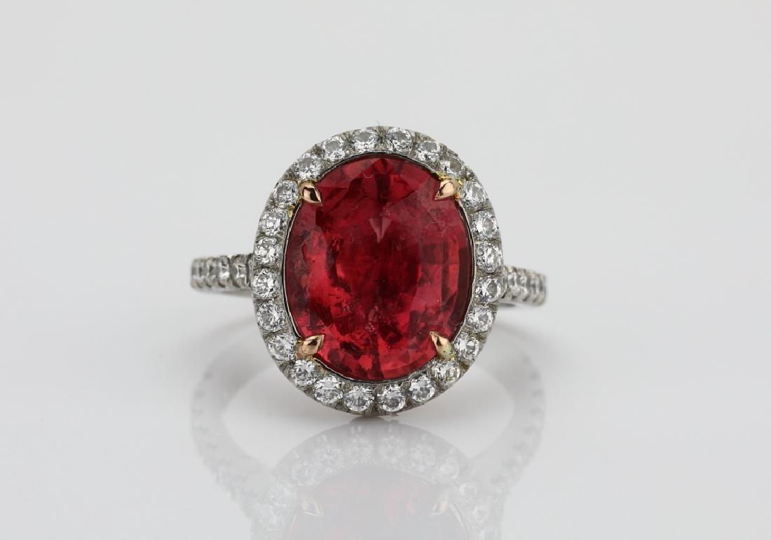5.59ct GIA Padparadscha Sapphire & Diamond Ring