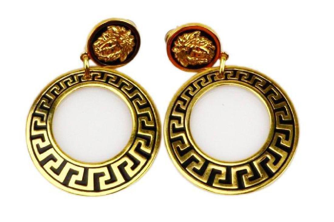 """Gianni Versace Vintage 18K 3"""" Earrings 56.3G"""