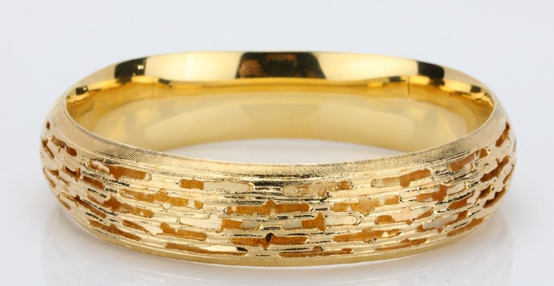 Solid 14K Yellow Gold 14mm Wide Bangle Bracelet