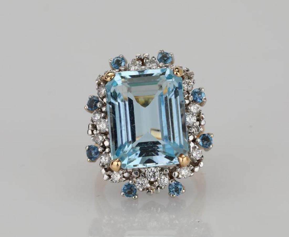 10.40ctw Aquamarine, 1.00ctw Diamond & 14K Ring