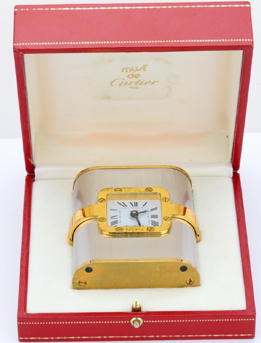 Cartier 1980s Santos Travel Alarm Clock in Box