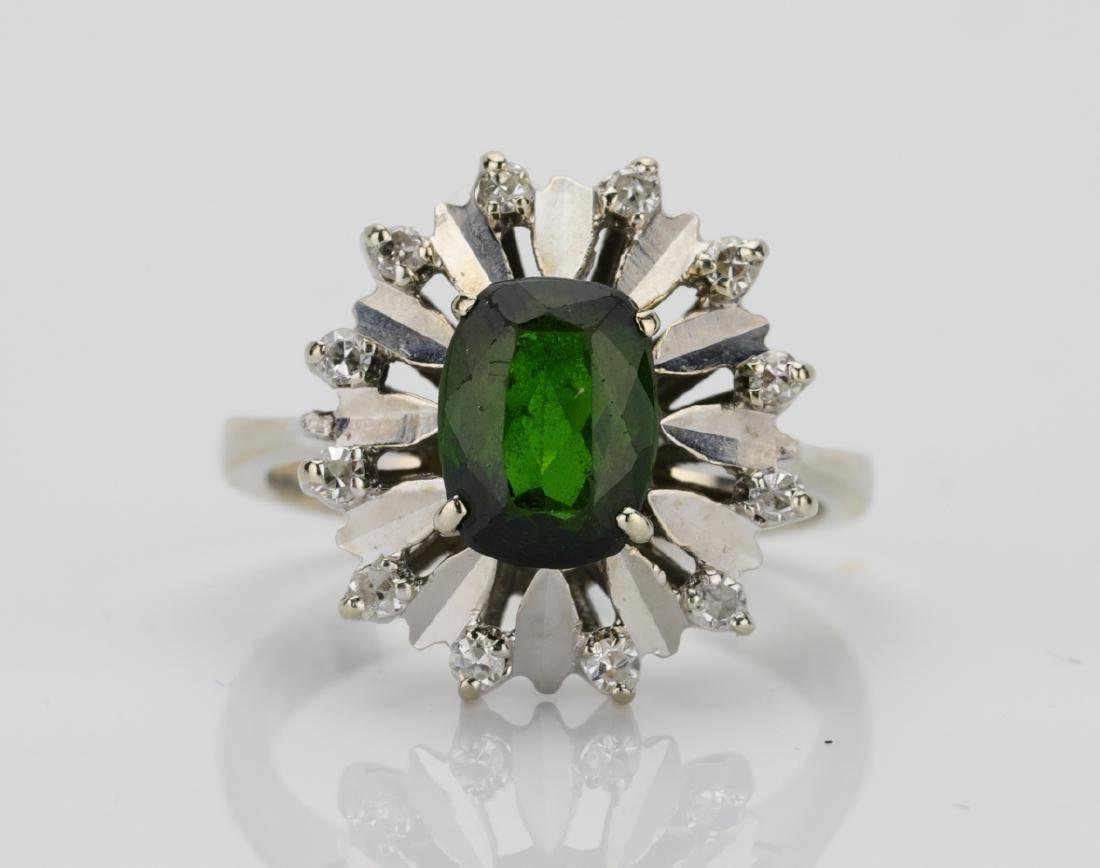 1.25ct Green Tourmaline & 18K Ring W/Diamonds