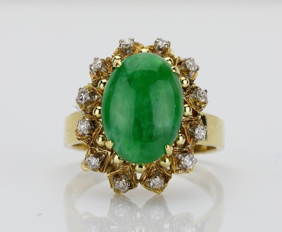13.5mm Green Chalcedony & 14K Ring W/Diamonds