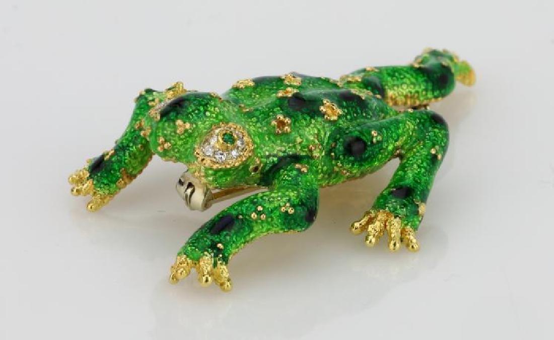 Italian 18K & Enamel Frog Brooch W/Diamonds