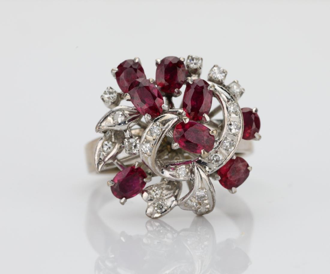 1.50ctw Ruby & 18K Ring W/0.50ctw Diamond Accents