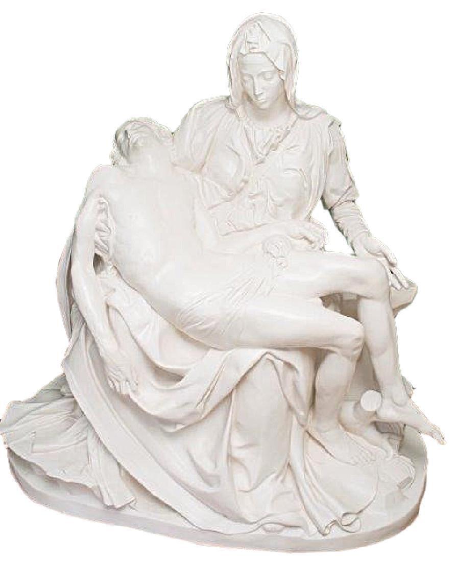 """Pieta"" by Michangelo Marble Replica W/Medici Seal"