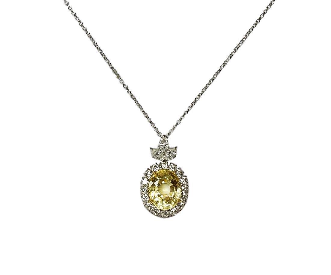 27.35ct GIA Yellow Sapphire, 5ctw Diamond Necklace