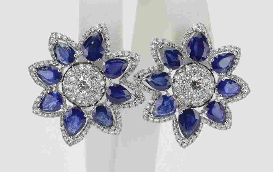 23ctw Sapphire & 3.5ctw Diamond 18K Earrings