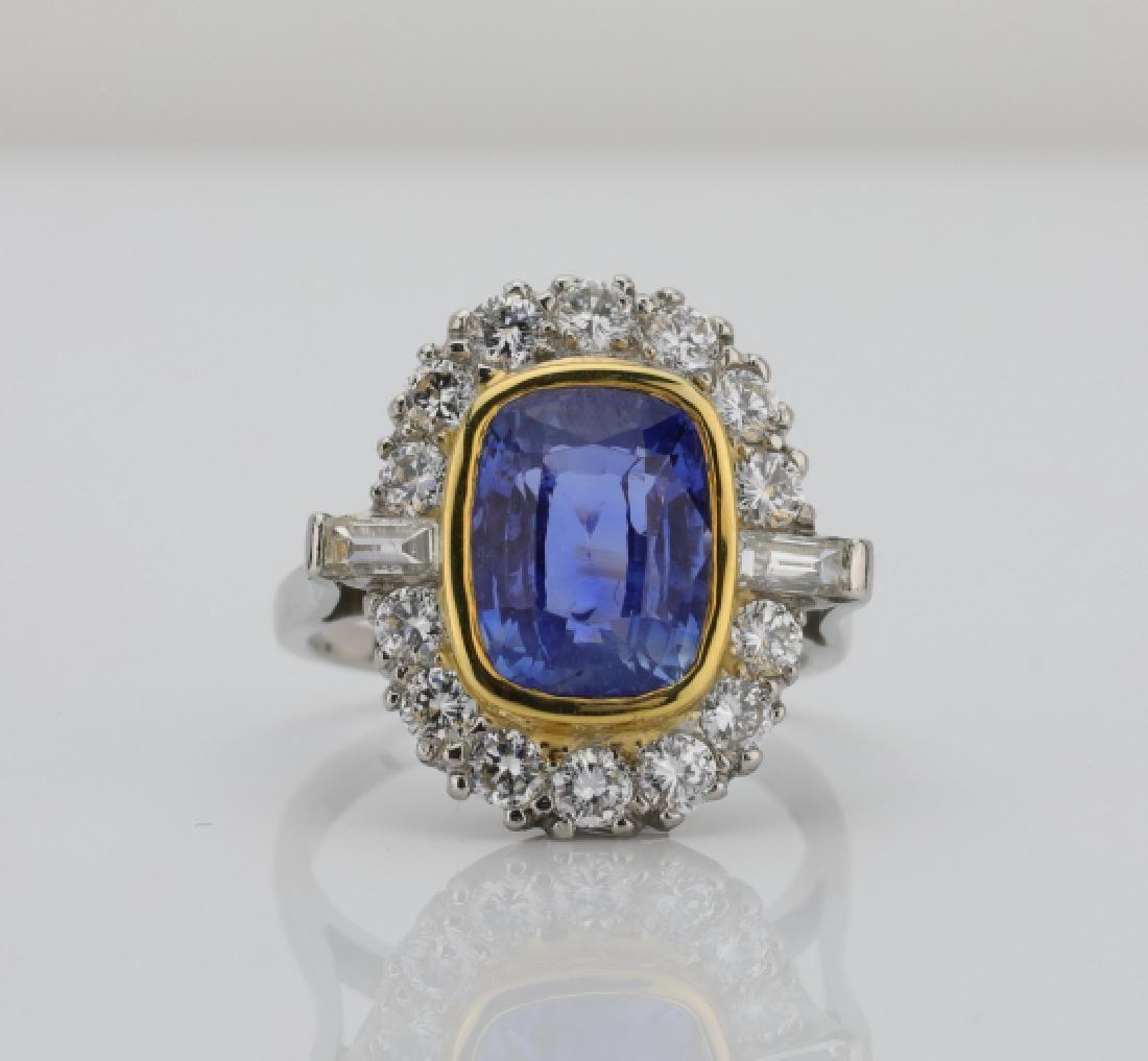 7.01ct GIA No Heat Blue Sapphire & Diamond Ring