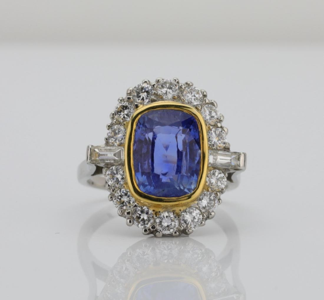 7.01ct GIA No Heat Blue Sapphire & Diamond Ring