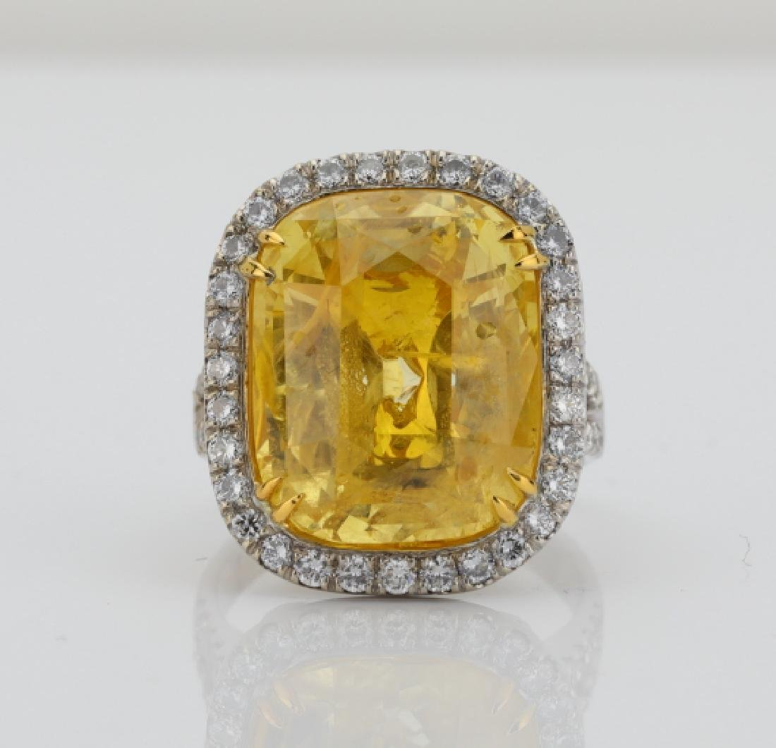 20.31ct GIA No Heat Sri Lankan Yellow Sapphire Ring