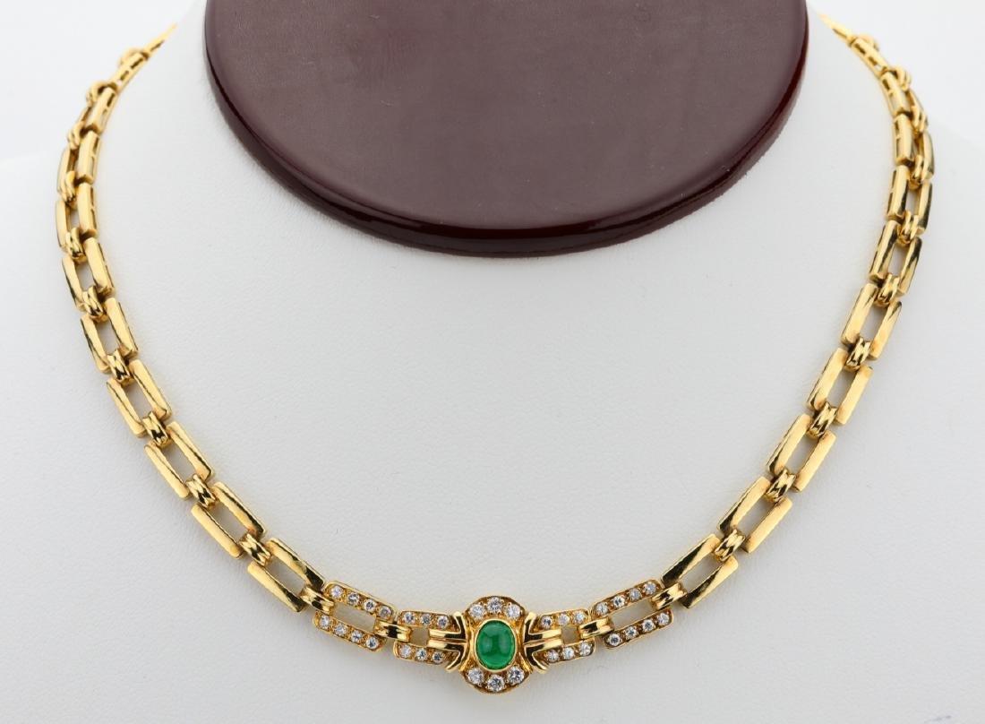 Fred Paris 1ctw Diamond, Emerald & 18K Necklace