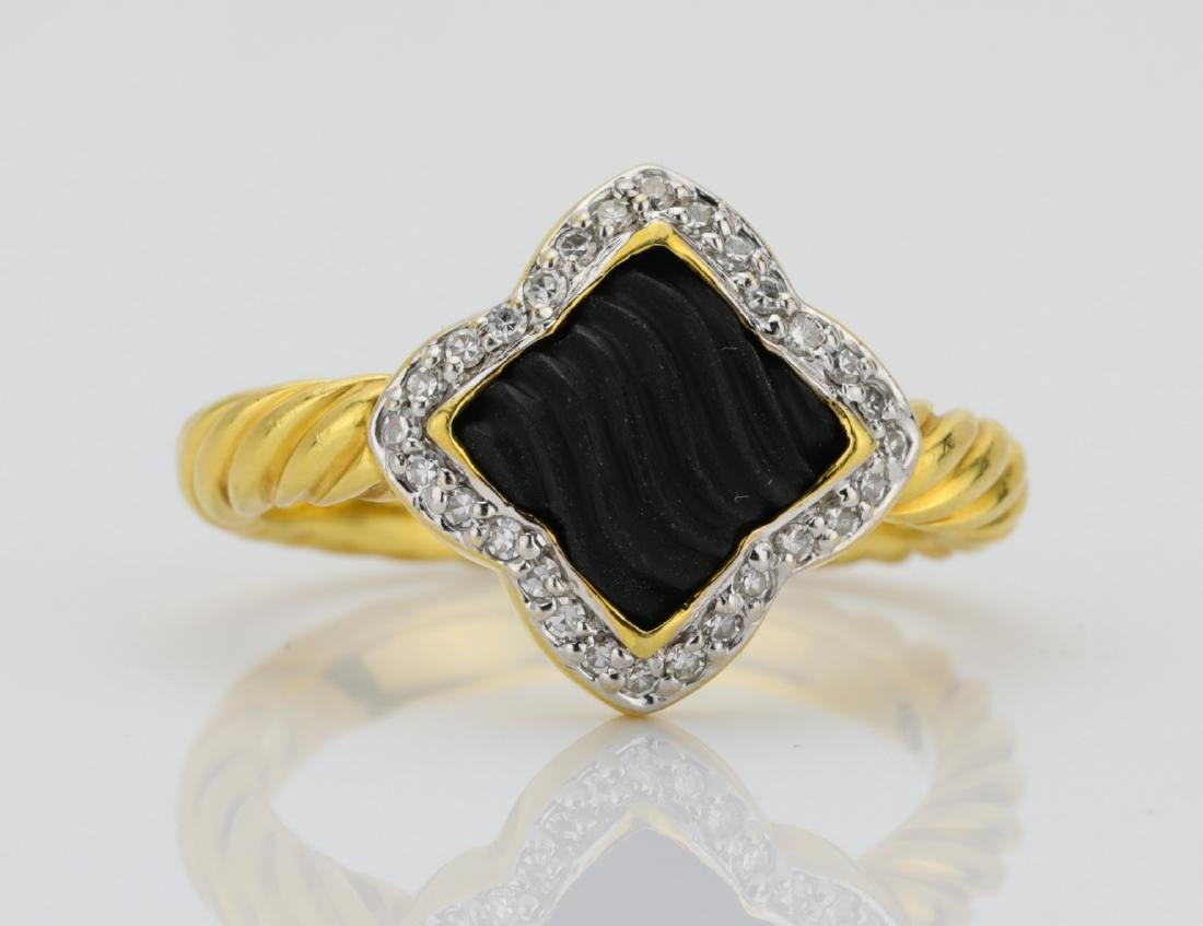 David Yurman 18K & Onyx Quatrefoil Ring W/Diamonds