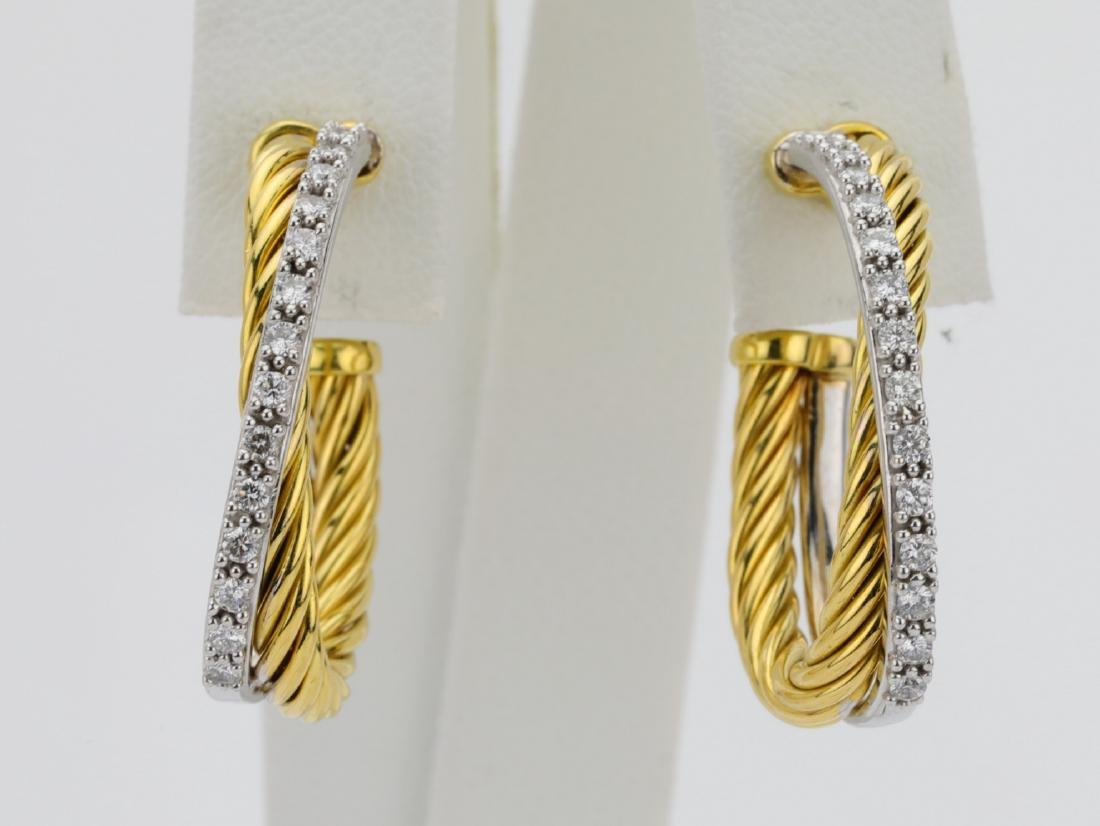 David Yurman 1ctw Diamond & 18K Hoop Earrings