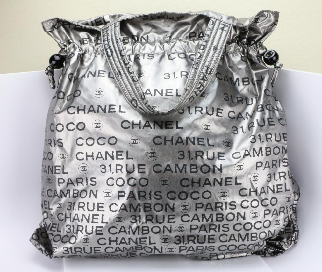 Chanel Metallic Silver Unlimited Drawstring Tote