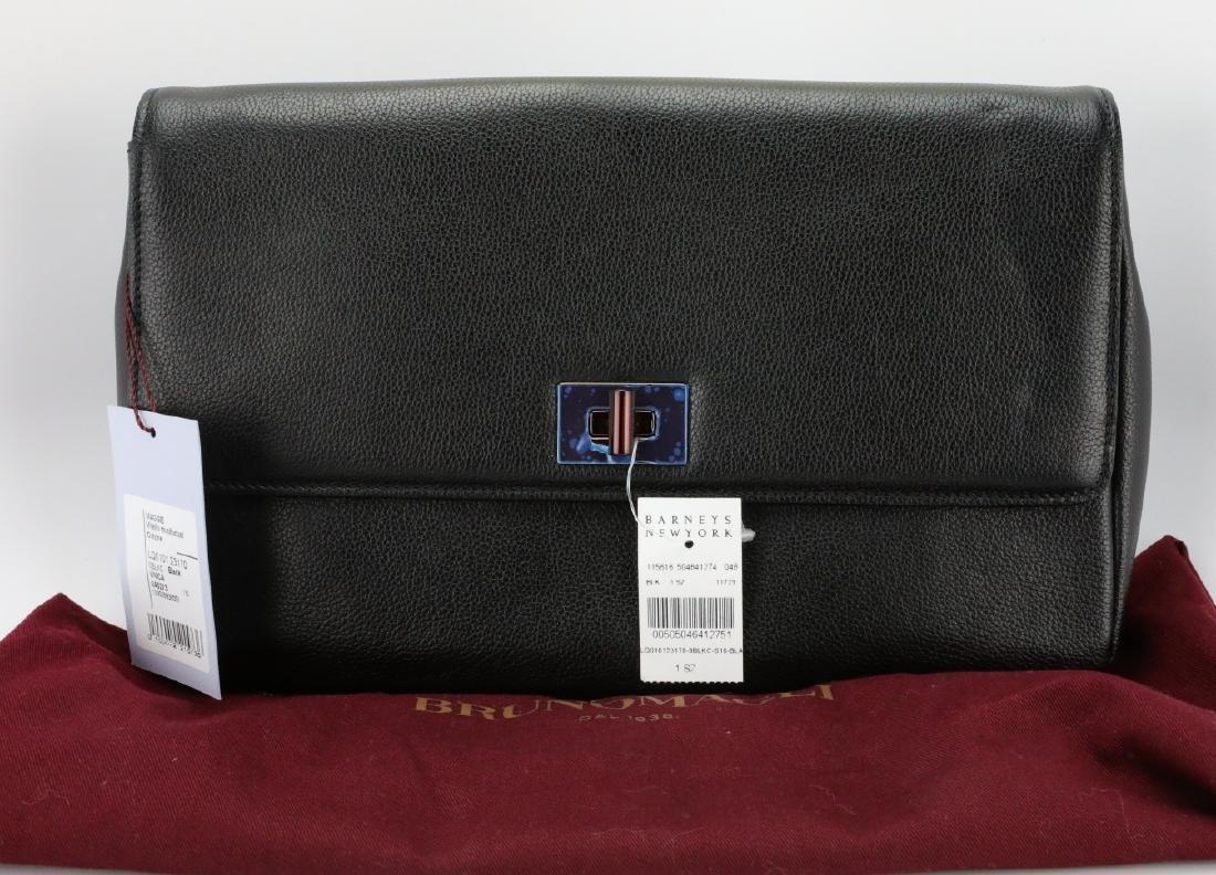 Bruno Magli Black Calf Leather Maggie Clutch