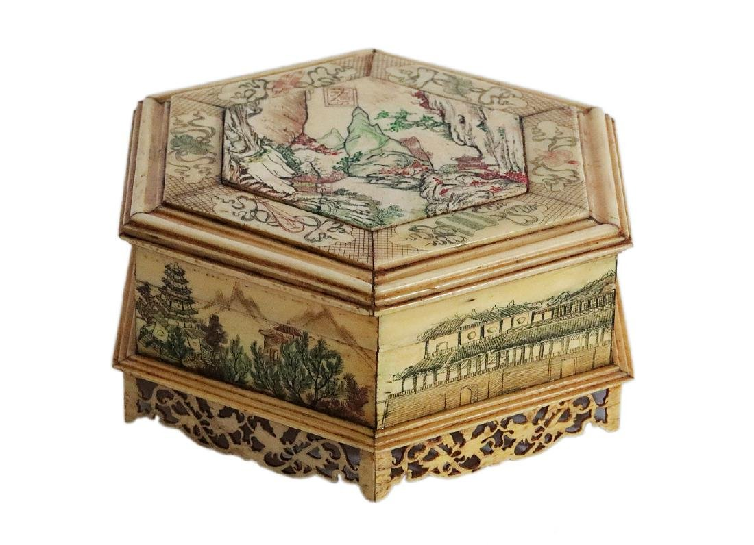 Vietnamese Carved Exotic Composition Jewelry Box