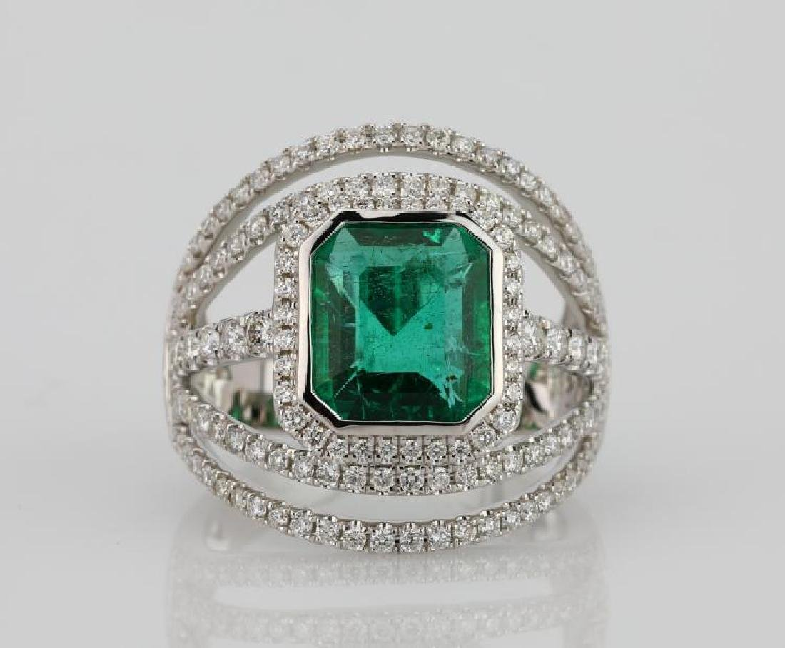 3.25ct Emerald, 1.25ctw Diamond & 18K Ring