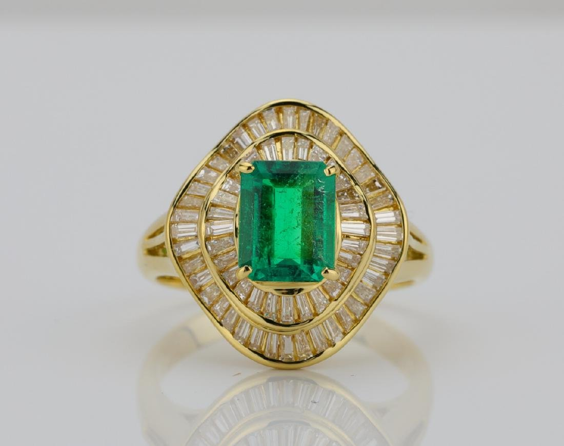 1.00ct Emerald, 0.80ctw Diamond & 18K Ring
