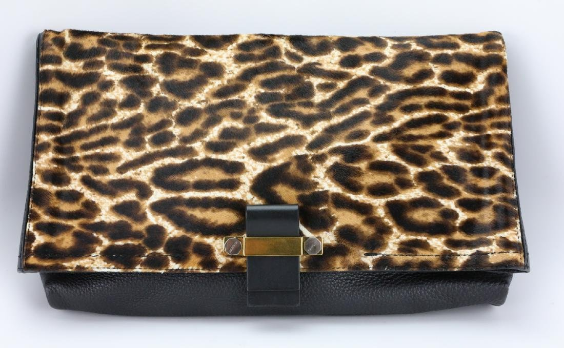 Lanvin Leopard Pony Hair & Black Leather Clutch