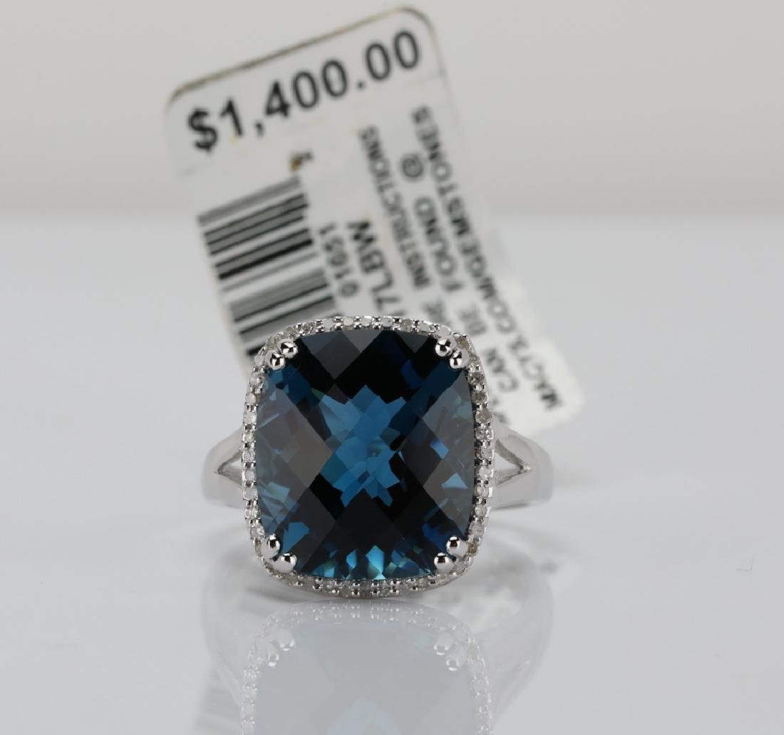 11ct London Blue Topaz & 14K Ring W/Diamonds