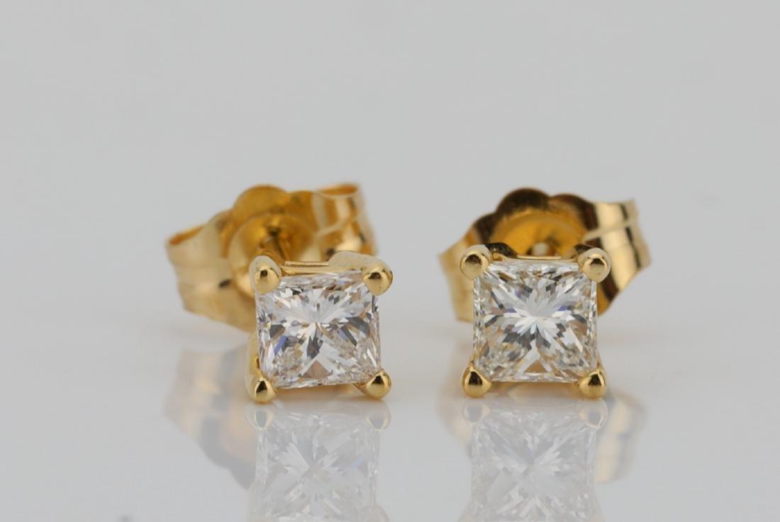 EGL 0.50ctw SI1/F-G Diamond 14K Earrings