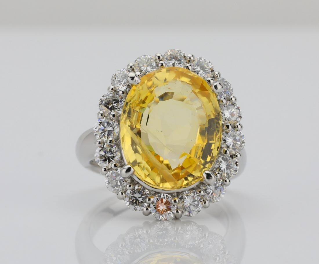 9.95ct GIA No Heat Yellow Sapphire & Diamond Ring