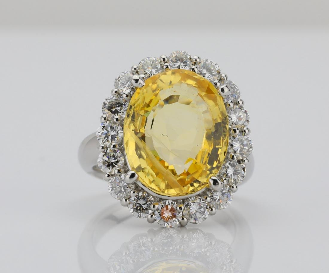 9.95ct GIA No Heat Yellow Sapphire & Diamond Ring