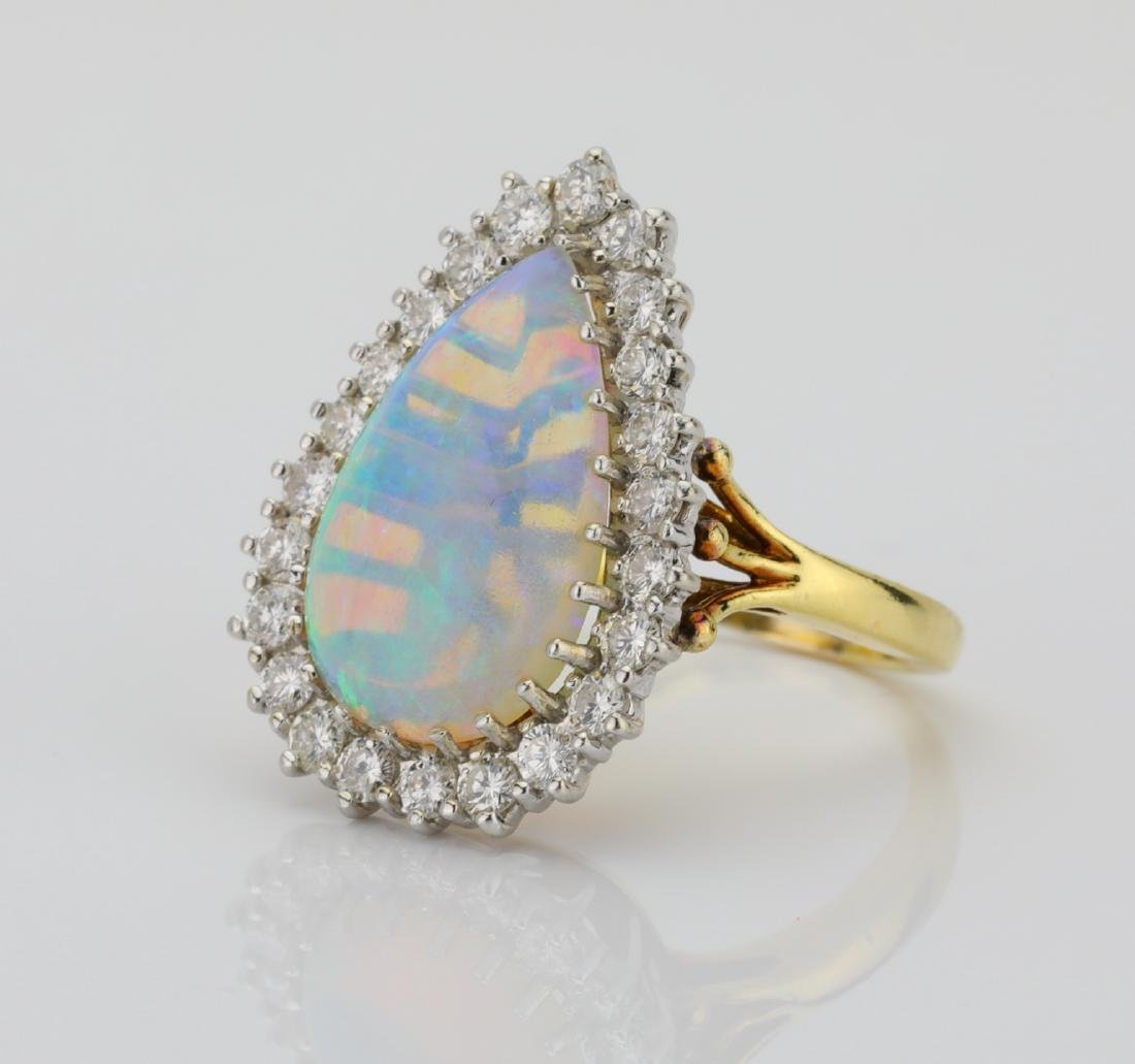 14.00ct Jelly Opal, 2.00ctw Diamond & 18K Ring