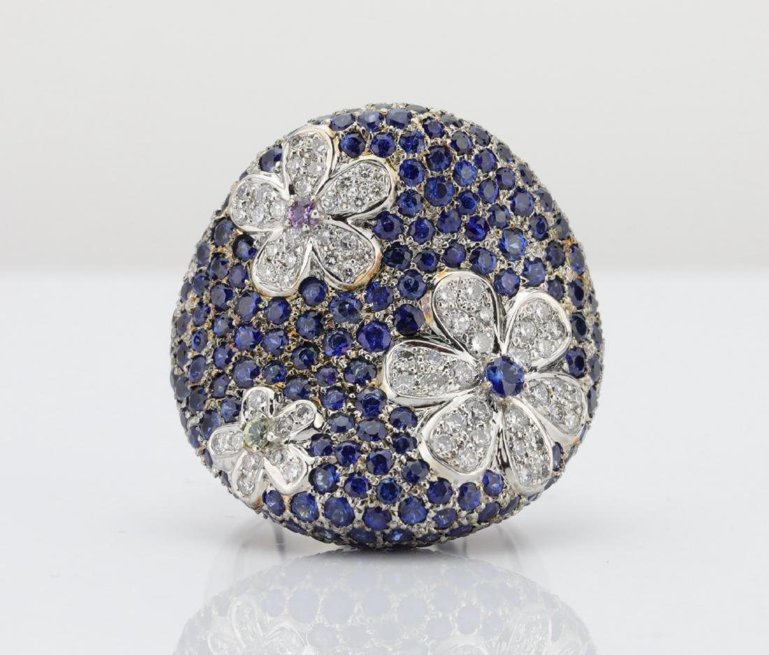11.55ctw Blue Sapphire, 1ctw Diamond & 18K Ring