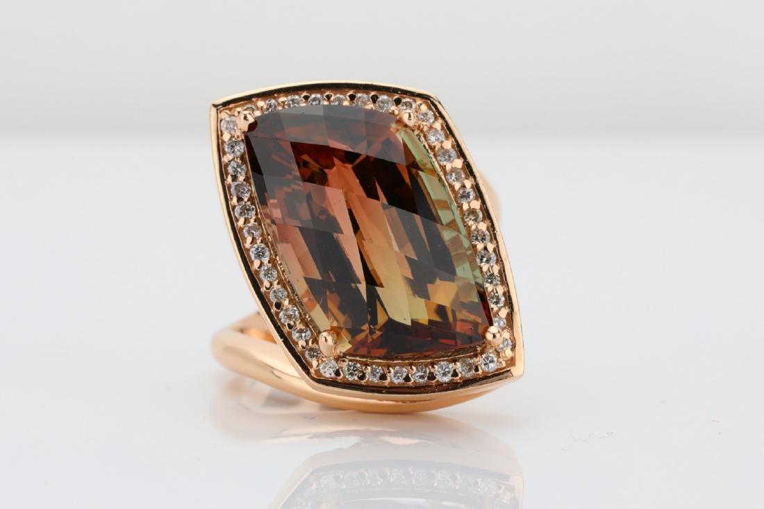 14.85ct Bi-Color Tourmaline, Diamond & 14K Ring