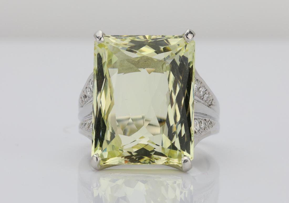21.85ct Yellow Beryl, Diamond & Platinum Ring