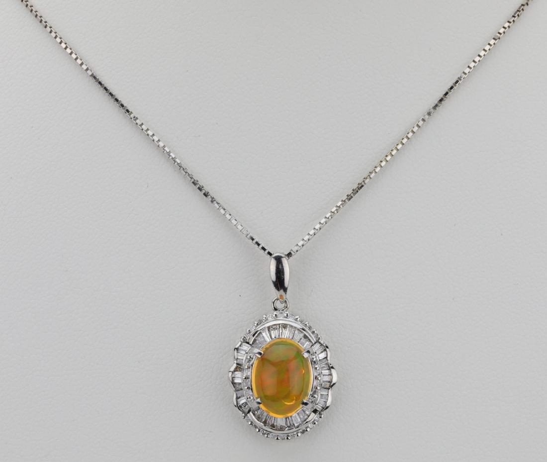 3.65ct Opal, 0.9ctw Diamond Platinum/18K Necklace