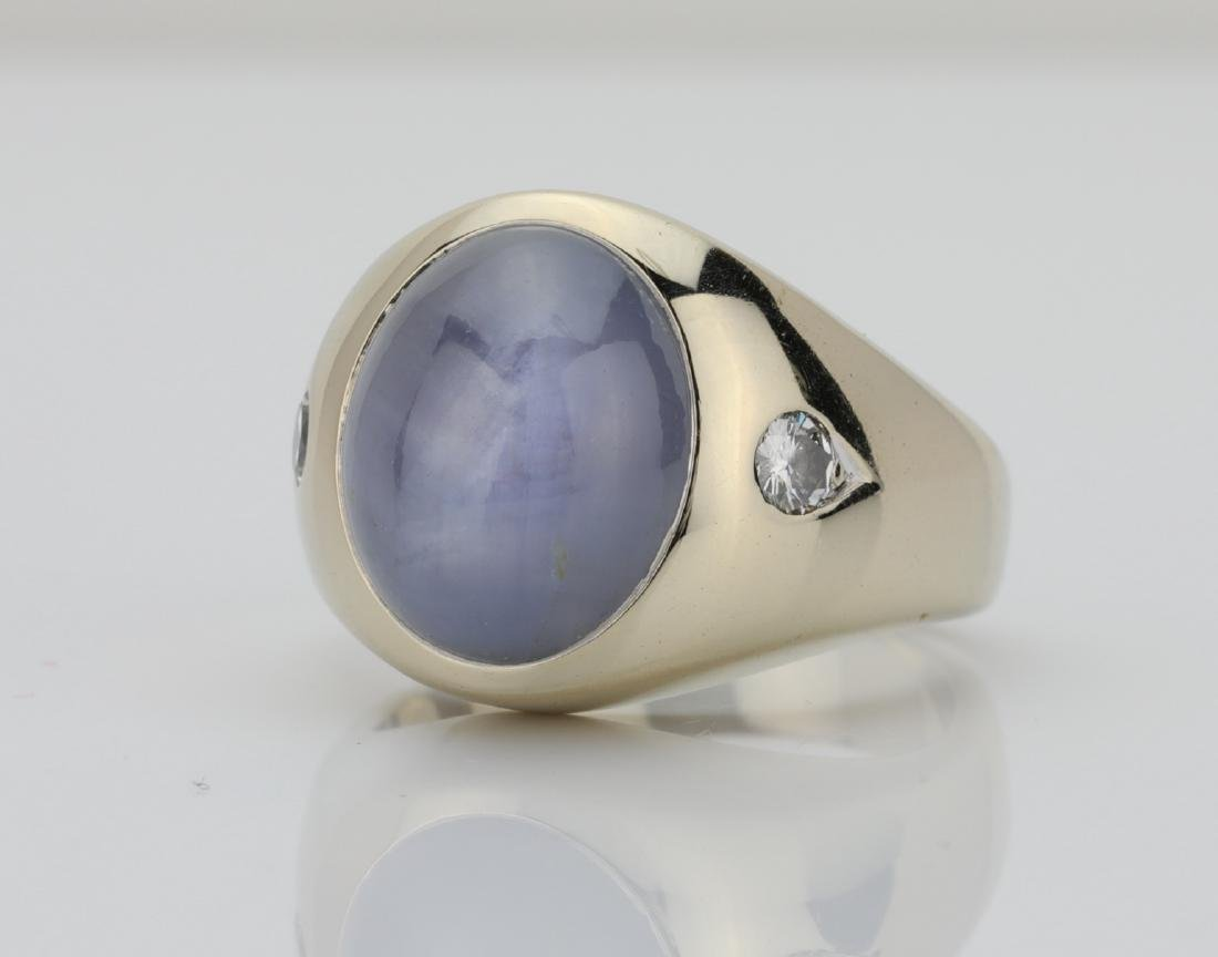 15.60ct Blue Star Sapphire & 14K Ring W/Diamonds