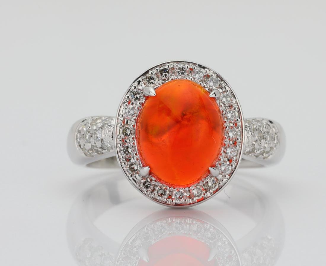 3ct Mexican Fire Opal, Diamond & Platinum Ring