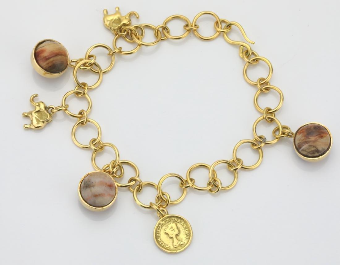 14K Yellow Gold & Agate Marble 6-Charm Bracelet