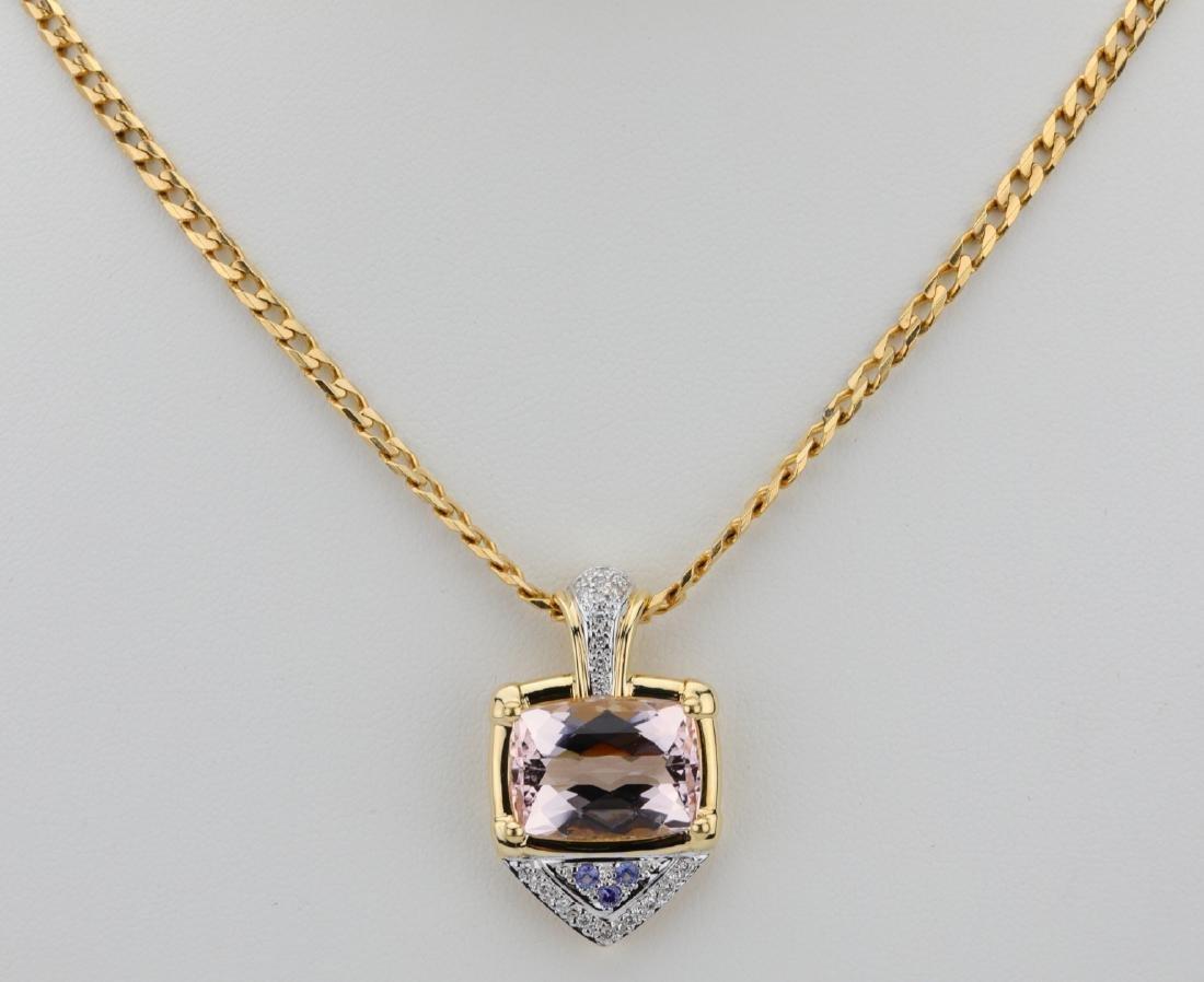 8ct Kunzite, 0.25ctw Diamond & 14K/18K Necklace