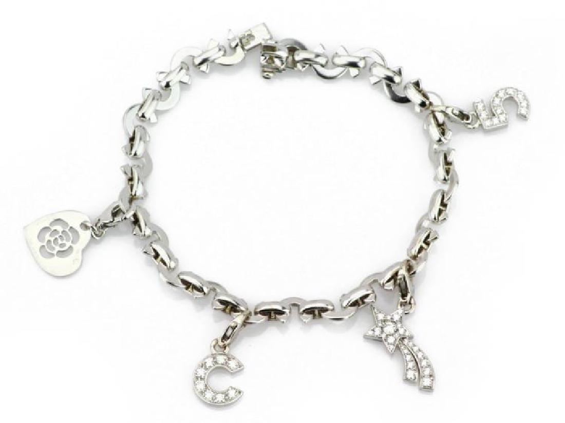 """Chanel """"CC Ferme"""" Diamond 18K (4) Charm Bracelet"""