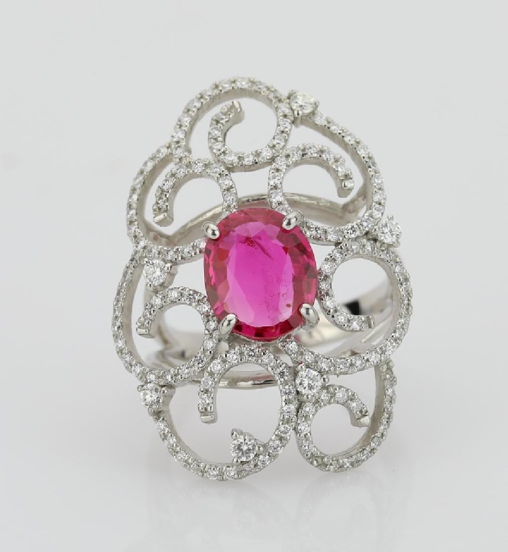 2.25ct Ruby, 0.75ctw Diamond & Platinum Ring
