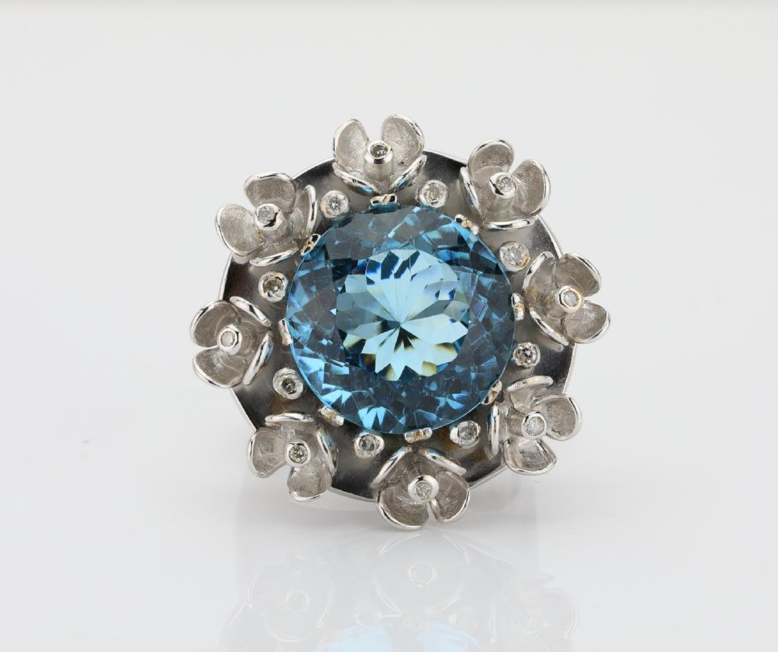 20ct Blue Topaz & 18K Cocktail Ring W/Diamonds