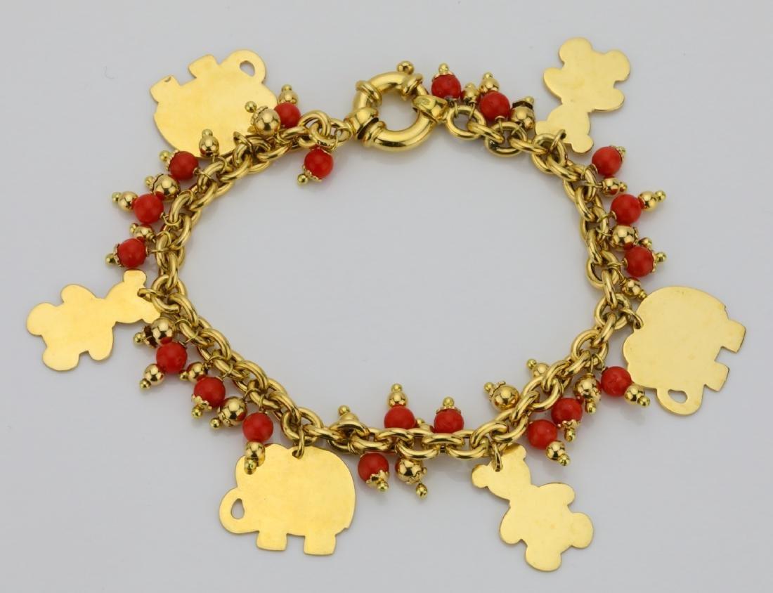 "18K 7"" 6-Charm Bracelet W/Red Coral Tassels"