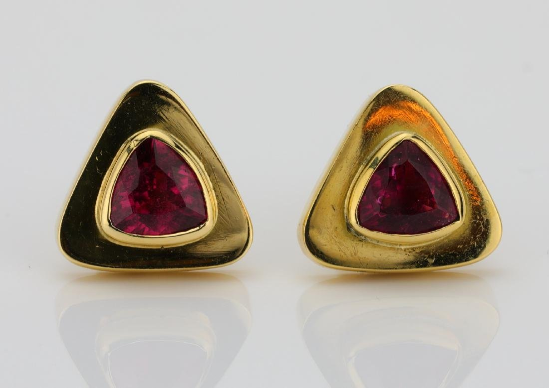 4.00ctw Pink Tourmaline & 18K 17mm Cufflinks